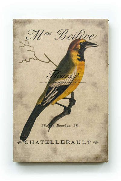 Single Layer Art on Linen Dark Yellow Bird