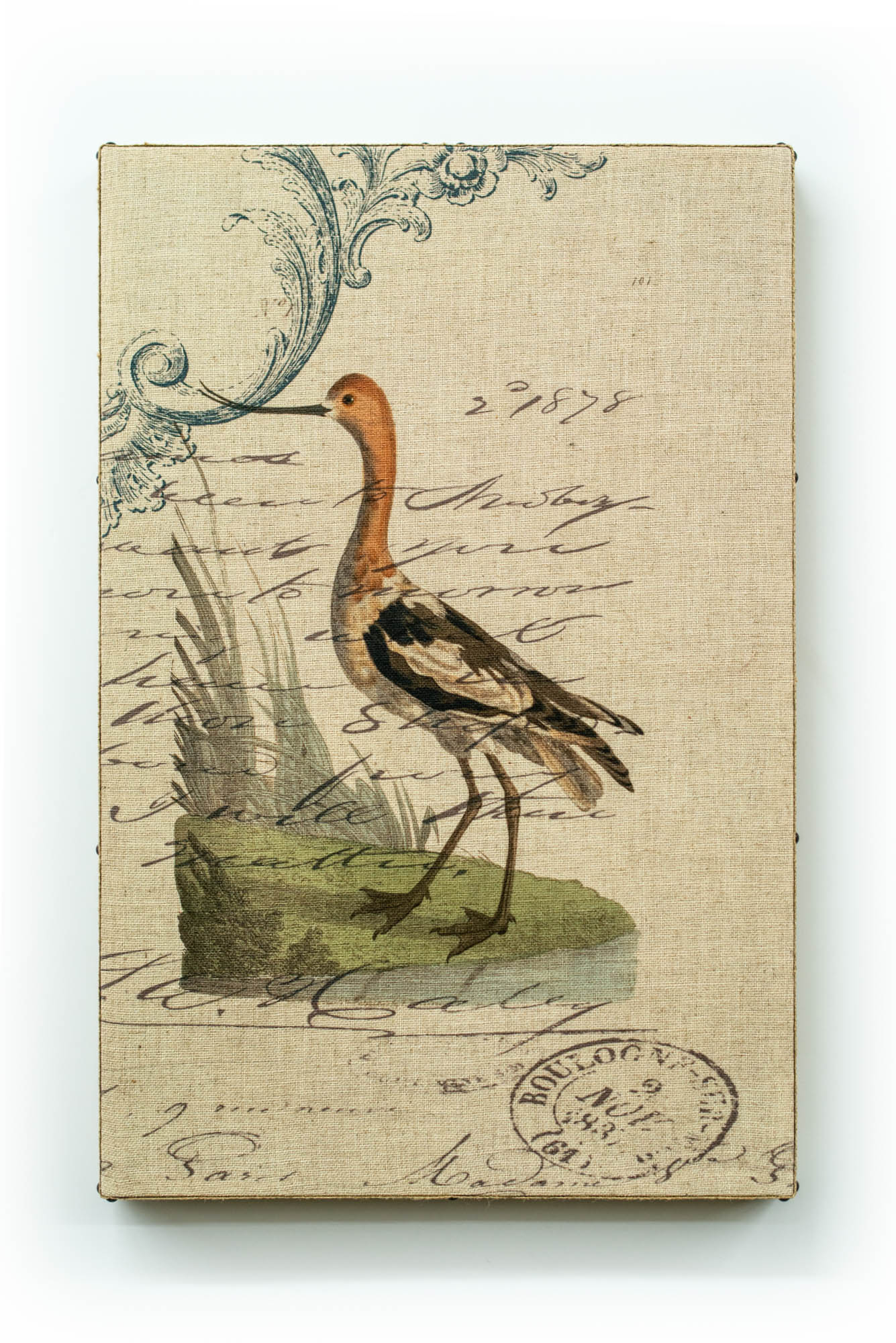 Single Layer Art on Linen Water Bird Right