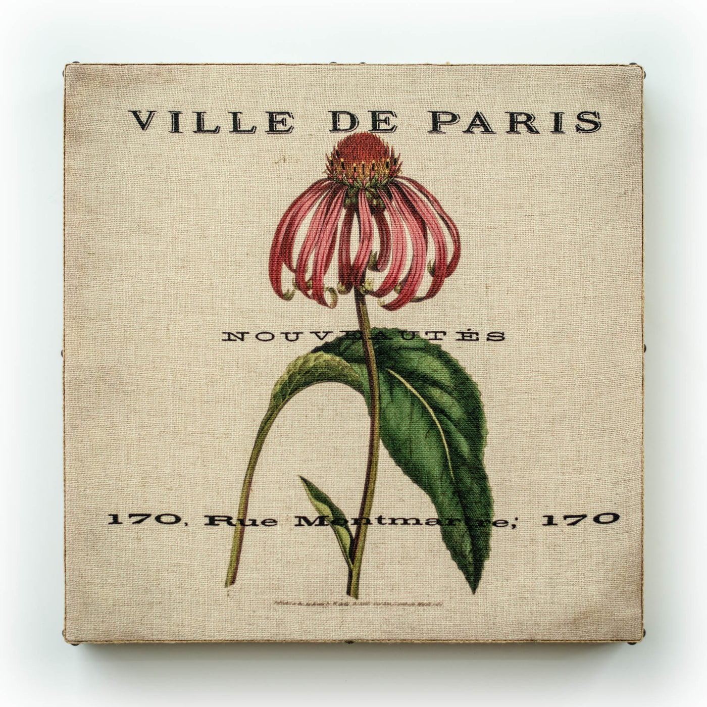 Single Layer Art on Linen Paris Bot Pink Square