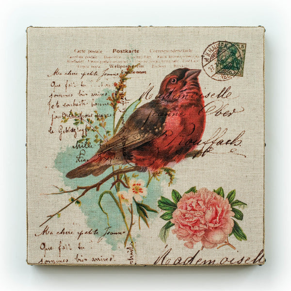 Single Layer Art on Linen French Bird Red