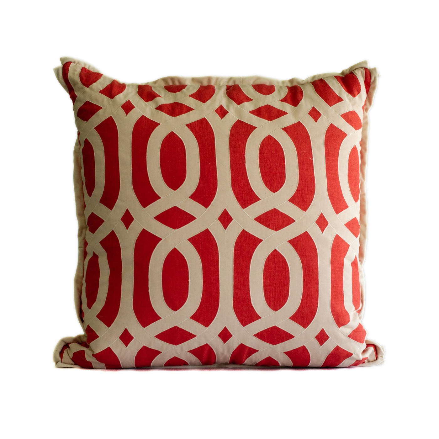 Pillow Coral linen with a Geometric Pattern