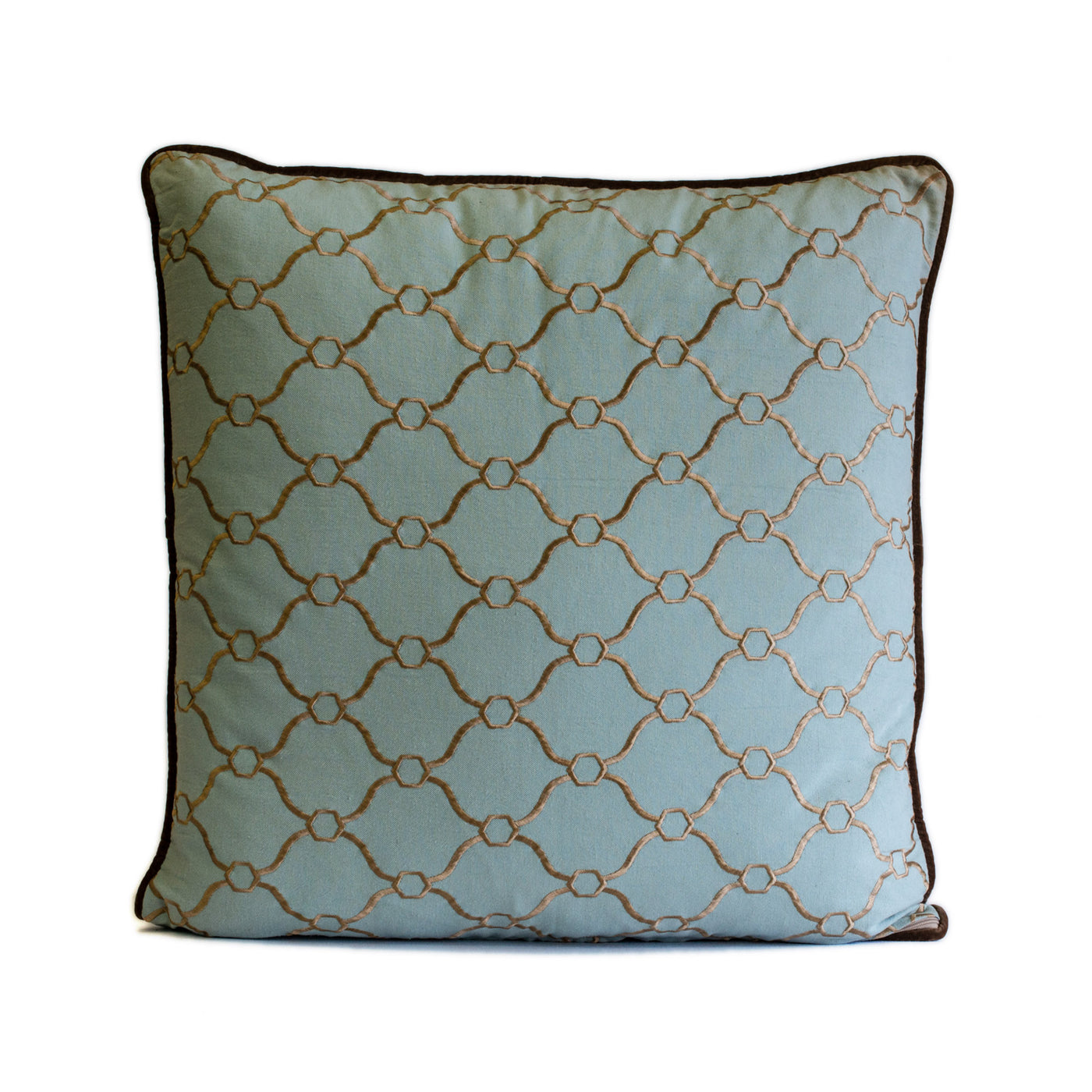 Blue and Taupe Embroidered Pillow
