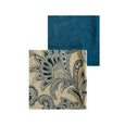 Cotton/Linen Print and Velvet Quilt- French Paisley Blue and Medium Blue Velvet