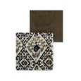 Cotton Print and Velvet Quilt- Large Scale Ikat #2 and Taupe Velvet