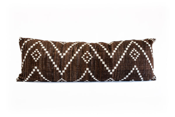 Chocolate Wool Embroidered Woven Pillow