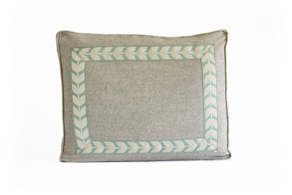 Boxed Standard Pillow in Nubby Gray with Spa Leaf Tape