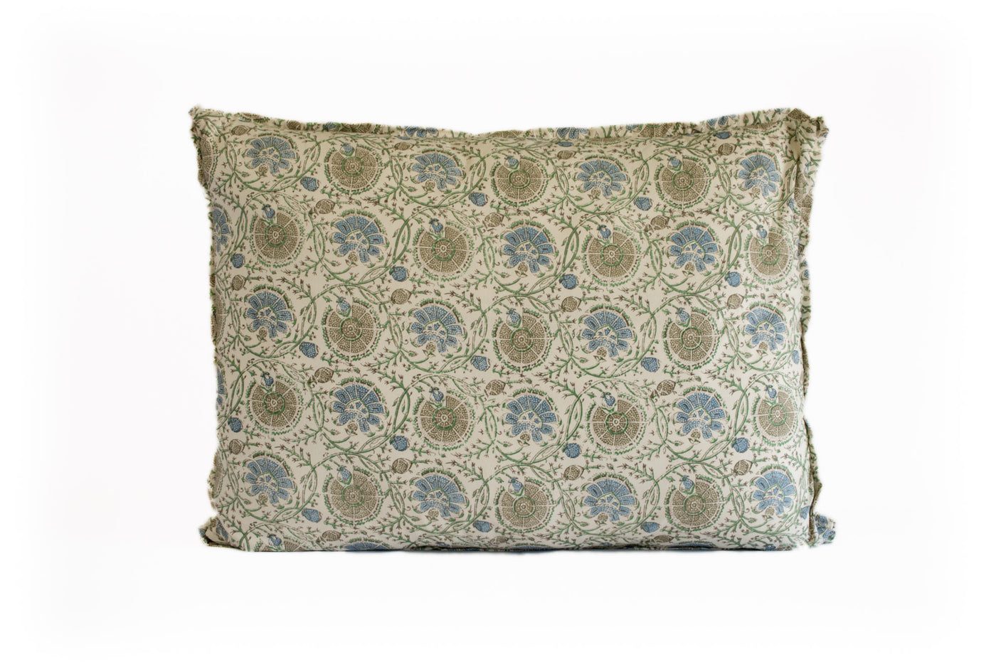 King Euro Pillow Blue and Brown Floral