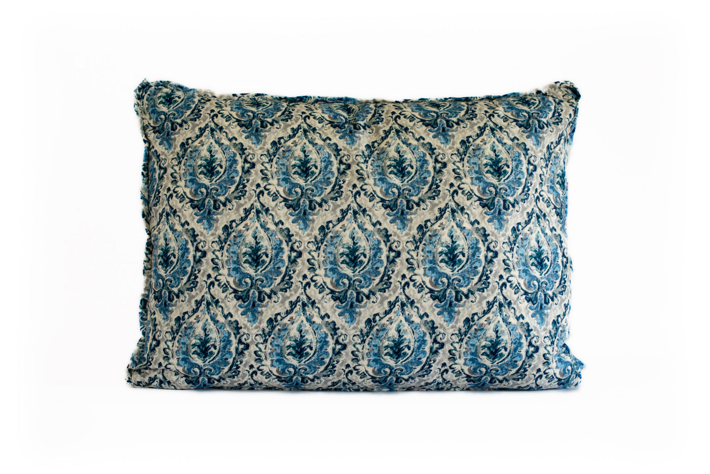 King Euro Pillow Blue and Gray Print