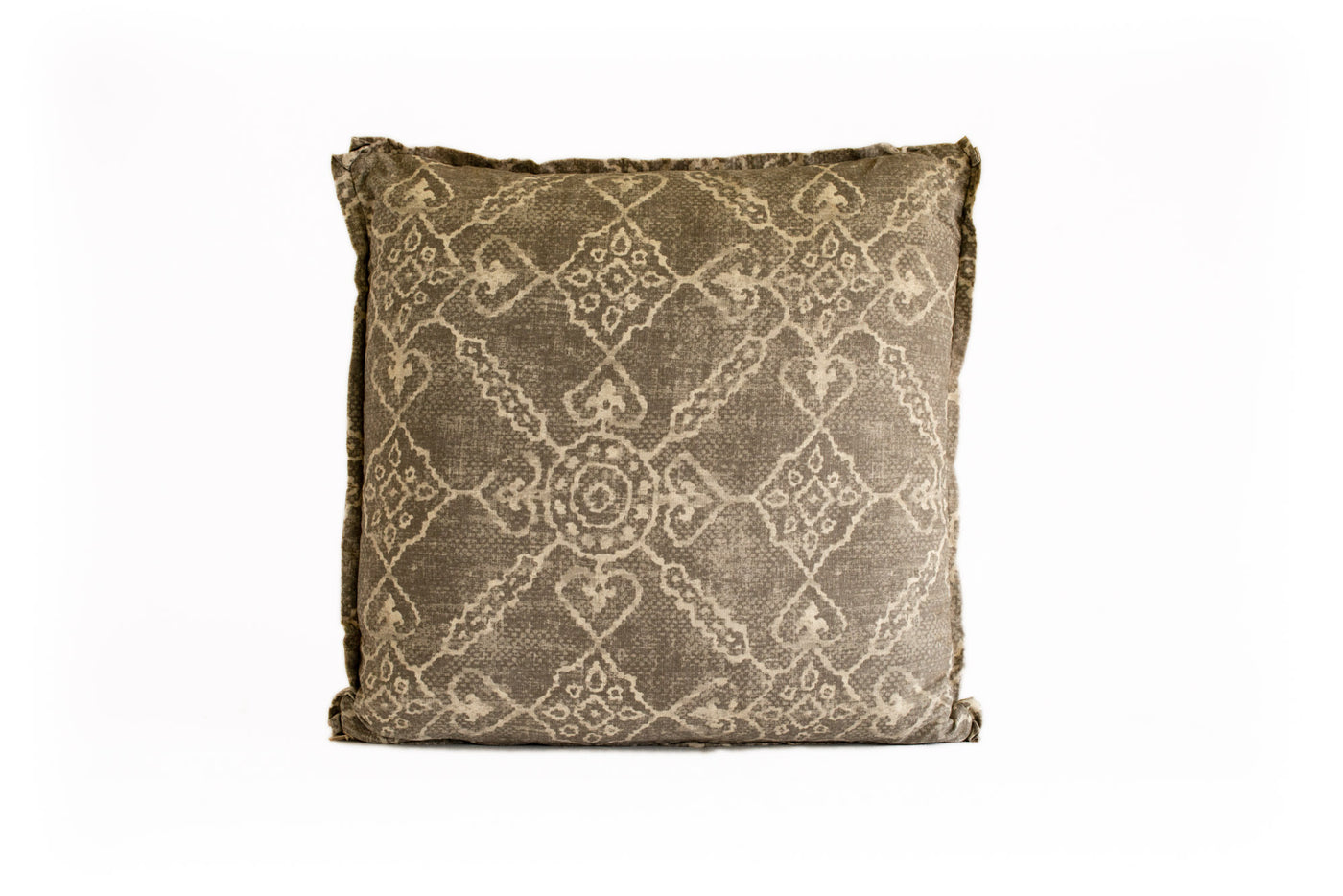 Taupe and Cream Print Pillow