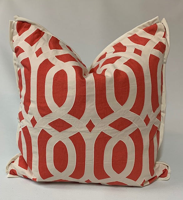 Pillow Coral Linen with Geometric Pattern 22 x 22