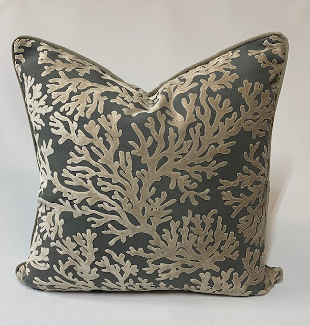 Cut Velvet Pillow with Piping