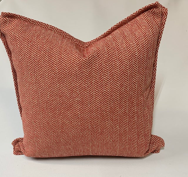 Textured Salmon Herringbone Pillow
