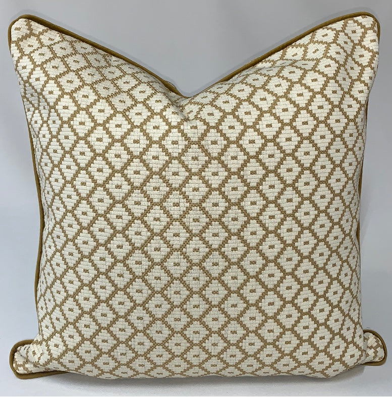 Woven Gold Geometric Pillow with Piping