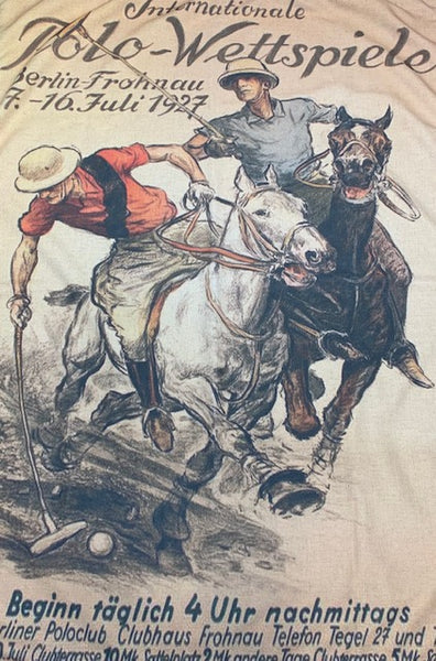 Linen Velvet Printed Image Throw  - Polo Players
