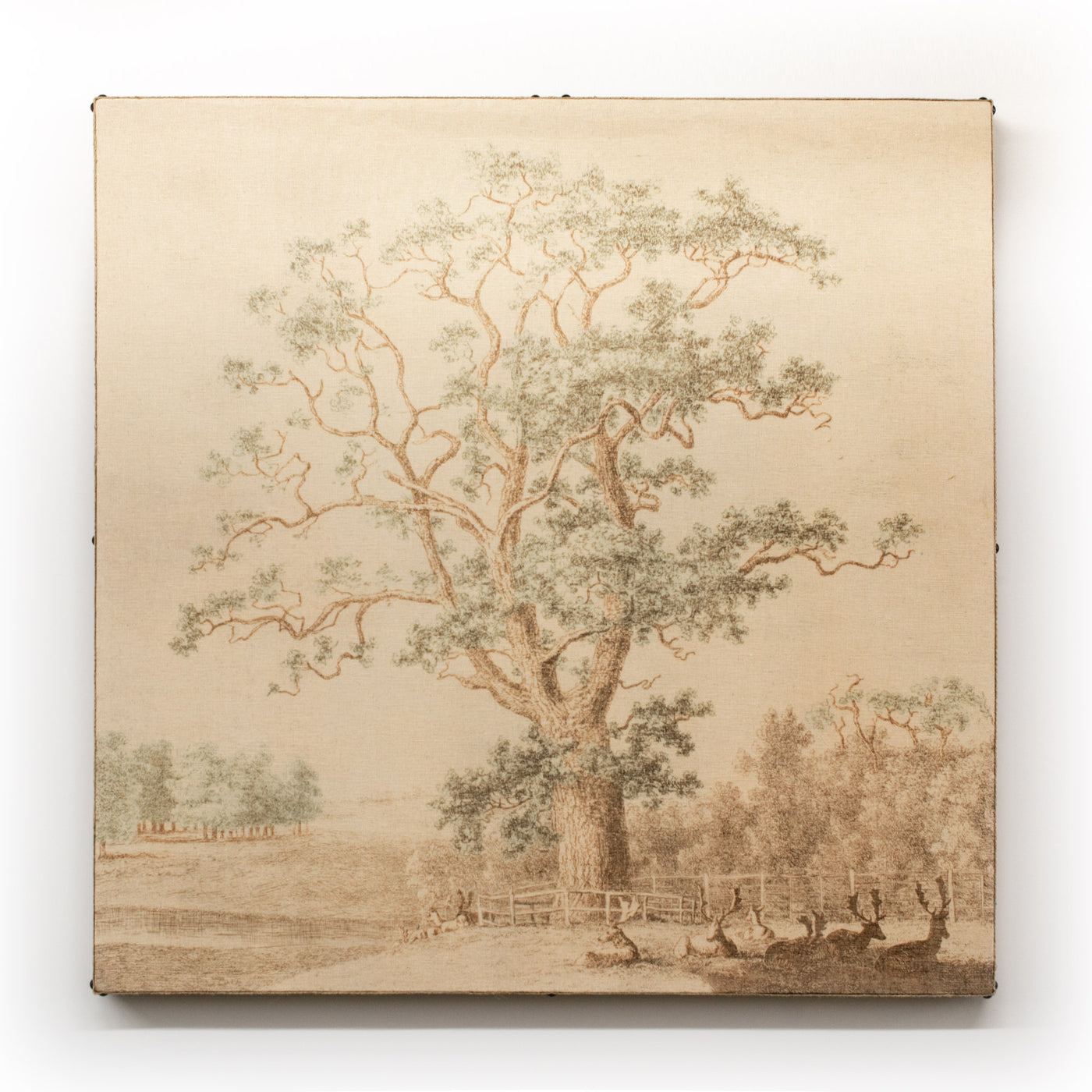 Wall Art Multi Layered Oak Tree with Deer Square