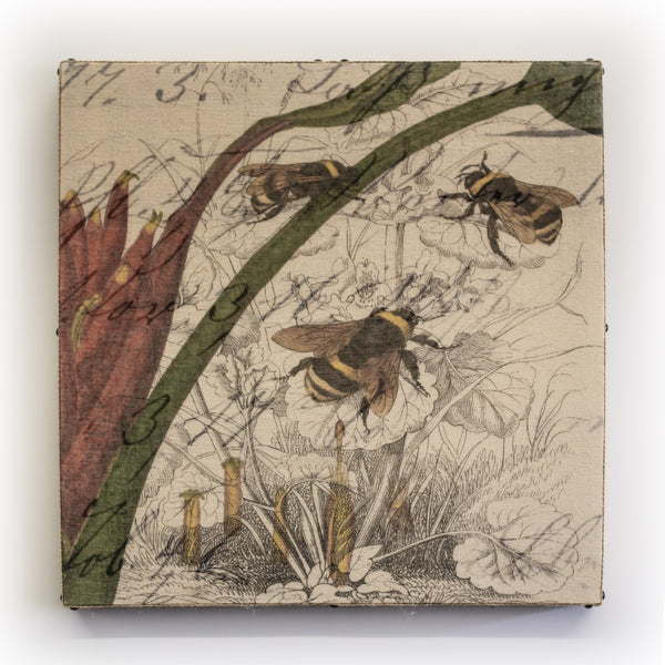 Wall Art Multi Layered 3 Bee Collage Square