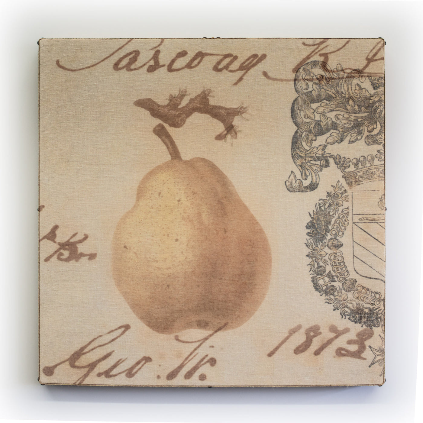 Wall Art Multi Layered Crest Pear 1 Square