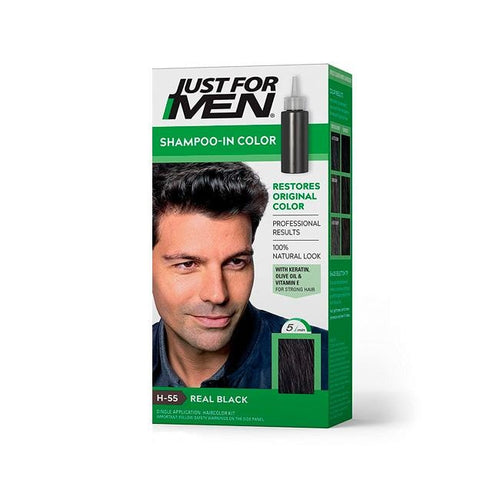 Tinte En Shampoo Para Cabello Just For Men Negro Natural H-55 27.5 Ml