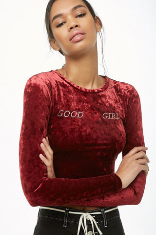 Sequin Good Girl Velvet Tee