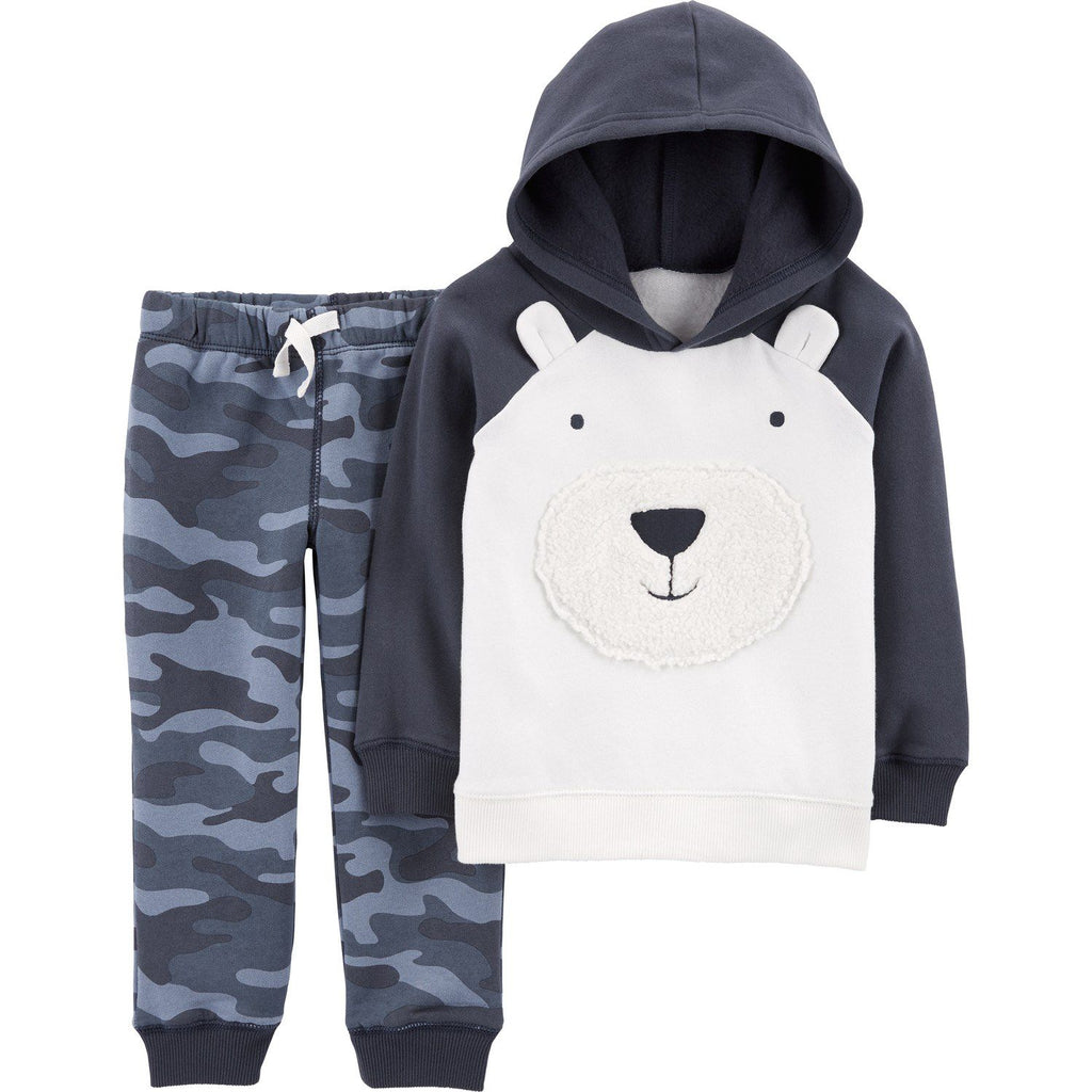 Toddler Boy Carter's Polar Bear Hoodie & Camo Pants Set