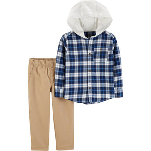 Toddler Boy Carter's Plaid Hooded Button Down Shirt & Khaki Pants Set