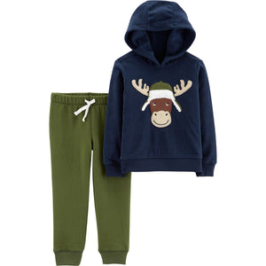 Toddler Boy Carter's Moose Pullover Hoodie & Jogger Pants Set