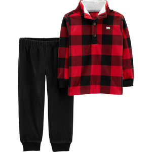 Toddler Boy Carter's Buffalo Checked Mock Neck Pullover & Fleece Pants Set