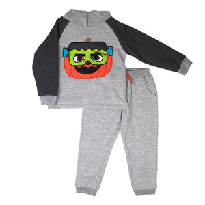 Toddler Boy Little Rebels Pumpkin Frankenstein Pullover Hoodie & Jogger Pants Set