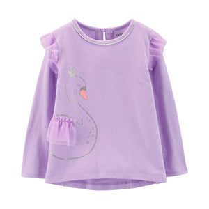 Baby Girl Carter's Tulle Ruffle Shoulder Graphic Tee