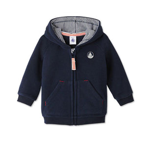 BABY BOYS ZIPPERED FLEECE SWEATSHIRT