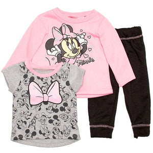 Baby Girls Minnie Mouse Sweatshirt with Tee & Pants (12-24m)