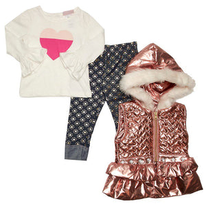 Baby Girls Metallic Pink Vest with Heart Tee & Leggings (0-9m)