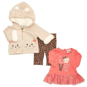 Baby Girls Metallic Pink Vest with Heart Tee & Leggings (12-24m)