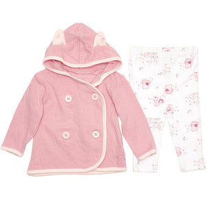 Baby Girls Hooded Cardigan with Woodland Animal Pants (0-9m)