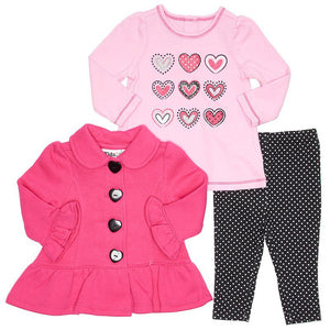 Baby Girls Pink Fleece Jacket with Heart Tee & Leggings (3-9m)