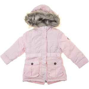 Toddler Girls Puffer Coat with Faux Fur Hood (2T-4T)