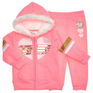 Toddler Girls 2 Piece Sequin Zip Up Jacket and Joggers Set (2T-4T)