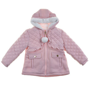 Toddler Girls Hooded Ruffle Coat with Faux Fur Lining (2T-4T)