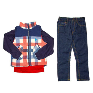 Toddler Boys Vest, Long Sleeve Tee, and Jeans Set (2T-4T)
