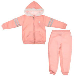 Toddler Girls 2 Piece Fleece Zip Up Hoodie and Joggers Set (2T-4T)