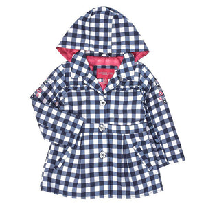 Toddler Girls Navy & White Gingham Trench Jacket (2T-4T)