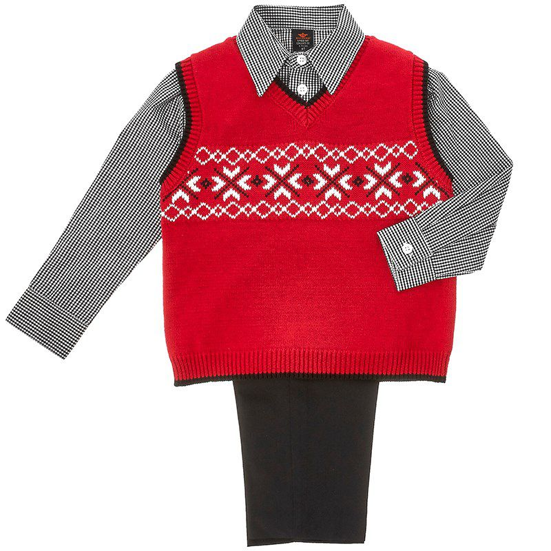 Toddler Boys Sweater Vest, Shirt & Pants Set (2T-4T)