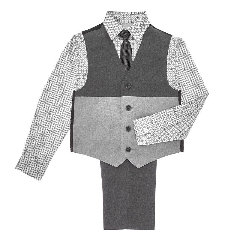 Toddler Boys Grey Vest with Dress Shirt, Pants & Tie (2T-4T)