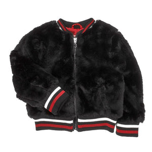 Toddler Girls Faux Fur Jacket w/ Rib-Knit Trim