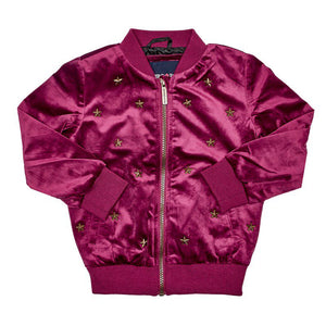 Toddler Girls Velvet Star Bomber (2T-4T)