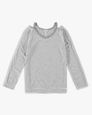 Girl Cutout Neckline Long Sleeve Tee