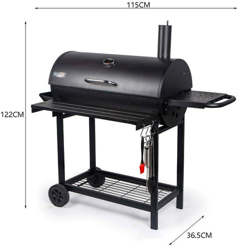 Black Bucket Smoker BBQ Charcoal Grill, Outdoor Foldable Stainless Steel Foldable Barbecue Grill for Patio Backyard Home Cooking Picnics Party