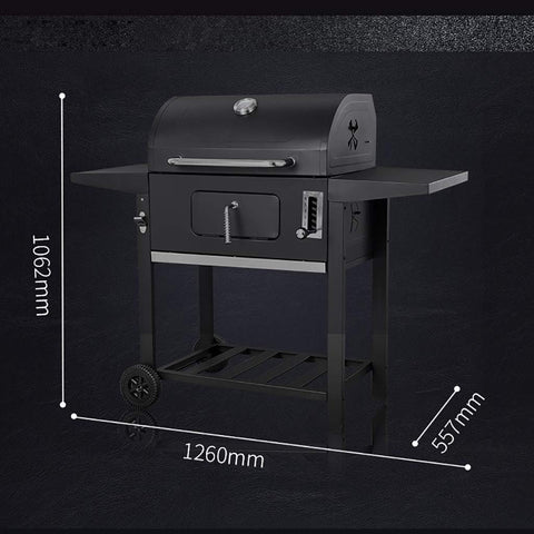 Portable Charcoal BBQ Grill, Outdoor Smoker Barbecue Grills with Wheels, Hanging Hooks & Bottle Opener for Camping Hiking Picnics Patio Backyard Cooking