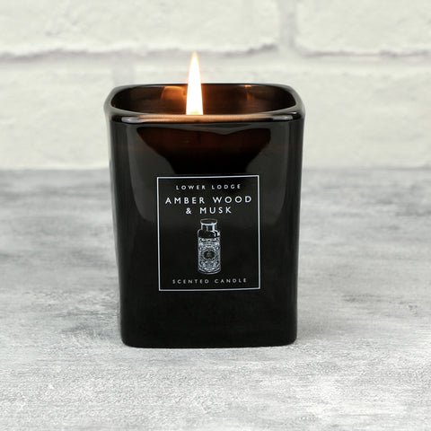 Amber Wood & Musk Scented Candle