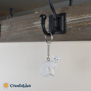 white angora cat keychain